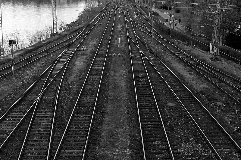 Parallel railroad tracks